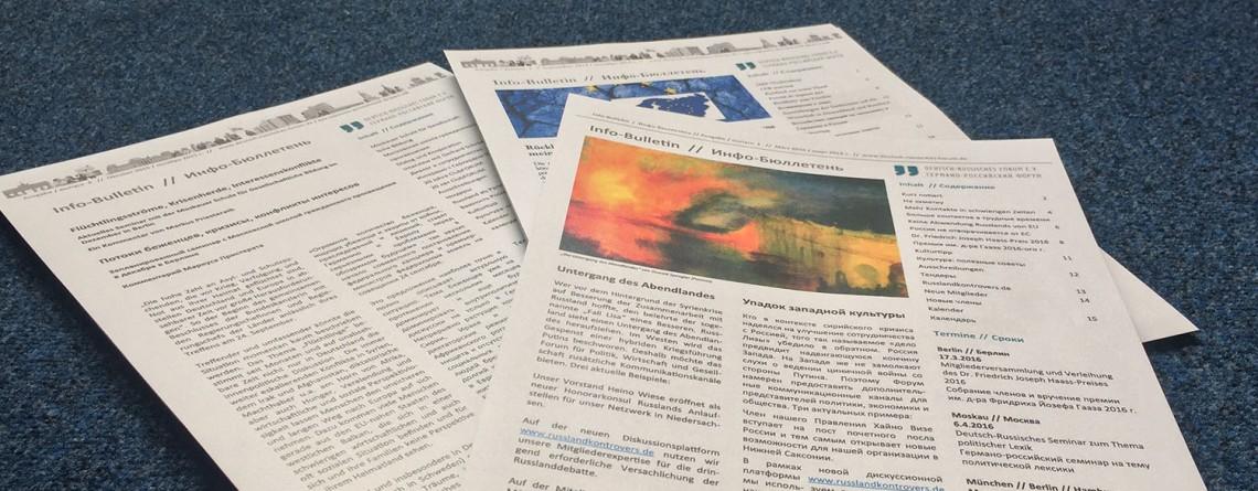 Sommerausgabe (Nr. 03/2016) unseres Info-Bulletin
